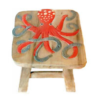 FOOTSTOOLS -  OCTOPUS WOODEN FOOTSTOOL - OCTOPUS FOOT STOOL - NAUTICAL DECOR