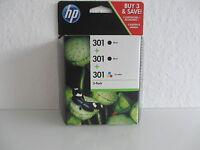 2x Black + Color ORIGINAL HP 301 for DJ DESKJET 1000 1050A 1510 2050 E5Y87EE