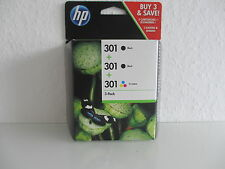 2x BLACK + COLOR ORIGINALE HP 301 for DJ Deskjet 1000 1050a 1510 2050 e5y87ee