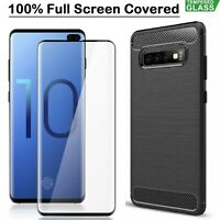 Samsung Galaxy S10 S10e S10 Plus Case Armour Cover + Tempered Glass Screen Film
