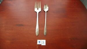 ONEIDA COMMUNITY  QUEEN BESS II  COLD MEAT FORK & ICED TEA SP  1946 SILVER PLATE