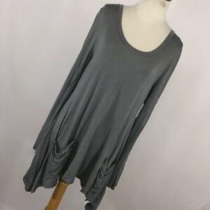 Logo M Medium Shirt Tunic Gray Long Pockets Asymmetrical Hem Womens Size Soft H8