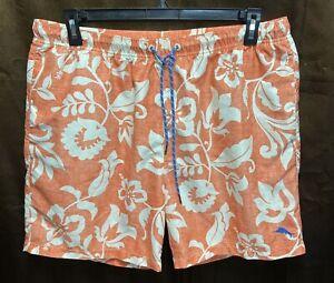 Tommy Bahama Men's Orange/White Hawaiian Swim Trunks Size XL