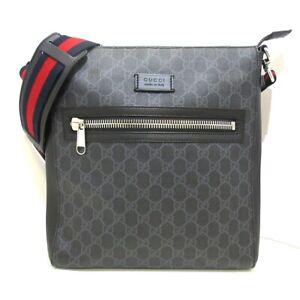 Auth GUCCI GG Supreme Canvas MessengerBag 474137 Black Gray PVC & Leather