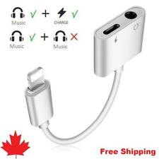 For iPhone 7 8 X XR plus Aux Splitter 3.5mm Audio Headphone Charge Cable Adapter