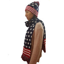 USA Flag Design Knit Pom Skull Cap And Scarf Set
