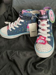 Skechers Sport Girl's Donuts Crystal Stars Suzet High Top Sneakers Size 1 NWT!