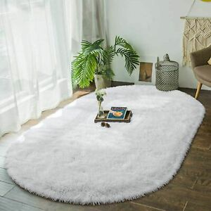 Oval Area Rugs Carpet Modern Plush Shaggy Home Floor Pad Mat Solid Patterned New