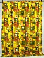 Vtg 60s Mid Century Modern Multi Color Canvas Curtain Drape Window Decor 81 x 89