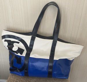 Tory Burch White/blue Canvas Dipped Beach Zip Top Tote Bag Purse Blue Navy DBIN5