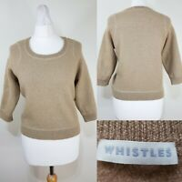 WHISTLES Gold Glitter Cropped Sweater Jumper Size 10 Oversized Slouch Boxy