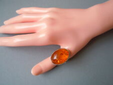 Großer 925 Silber Ring mit Honig Natur Bernstein 8,5 g / RG 60 Genuine Amber