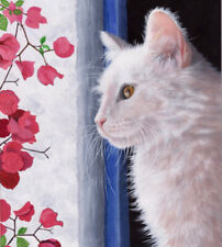 Cats White Cat Limited Edition Fine Art Print- Original Painting by S Barratt