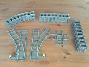 Lego 9 V Eisenbahn Schienen Weiche Gerade Kurve Kreuzung 4531 4519 4520 4515