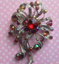 RED FLOWER SILVERTONE AB STONE BROOCH SCARF PIN 50s VINTAGE STYLE UPDATE DRESS