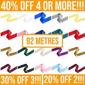 92 Metres - Double Satin Ribbon Rolls - 3mm 6mm 10mm 15mm 25mm Widths