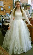Vintage Wedding Dress:1956 Size S orr Size 4 or 5- Hand Crafted Lace-Unique!