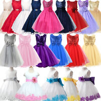 Flower Girl Dress Kid Pageant Wedding Formal Party Tutu Tulle Gown Princess Prom