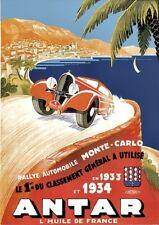 Antar 1933/1934 Rallye Automobile | Monte-Carlo | Vintage Poster | A1, A2, A3