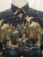 North River Dark Blue Night Duck Hunting Mens Long Sleeve Shirt Size Large