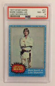 1977 TOPPS STAR WARS TRADING CARD - SERIES 1: BLUE - #57 LUKE SKYWALKER - PSA 8