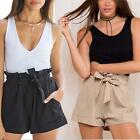 New Plus Size Women High Waist Shorts Ruffle With Belt Pant Casual Loose Shorts