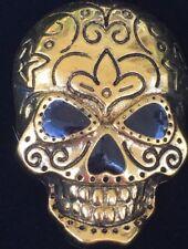 GOLD BLACK HALLOWEEN SCARY SPOOKY SKELETON SKULL FACE HEAD PIN BROOCH JEWELRY 3D