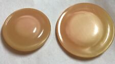 Vintage Pair Of Large Peach Ravioli Type Domed Buttons With Pearl Sheen Round