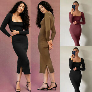 Lady Ribbed Bodycon Jumper Dress Square Neck Sexy Long Sleeve Casual Party Dress