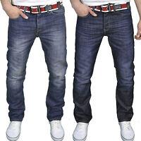 Crosshatch Mens Designer Branded Regular Fit Jeans Button Fly w/ Free Belt, BNWT