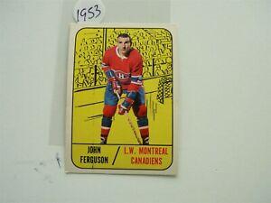 VINTAGE HOCKEY CARD TOPPS 1967  MONTREAL CANADIEN JOHN FERGUSON  NO1953