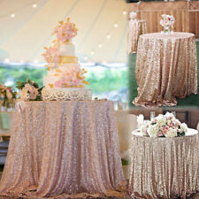 """Rose Gold Sparkly Sequin Fabric Tablecloth Backdrop Wedding Party Decor 50''x50"""""""