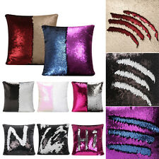 Reversible Sequin Mermaid Glitter Sofa Cushion Cover Pillow Case Double Color AZ