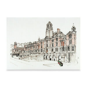 A3 Art Print of Dartmouth Royal Naval College Hand Sketched Navy Military Art