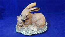 VTG 1979 Masterpiece by Homco Porcelain Bisque Rabbit Bunny with Baby Figurine