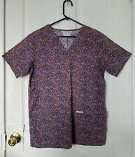 New listing Cherokee Inspired Comfort size Xs purple pink green patterned scrubs top, shirt