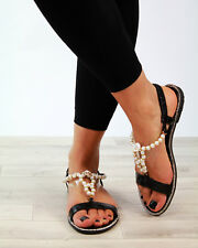 New Womens Flat Sandals Embellished Slingback Comfy Holiday Shoes Sizes 3-8