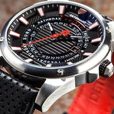 DETOMASO BUSINESS PUNK DT-YG105-A Mens Watch Stainl.steel/Black Day&Date New