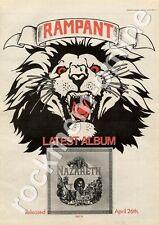 Nazareth Rampant CREST 15 MM4 LP Advert 1974