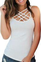 Womens Summer Tank Tops Sexy Criss Cross Spaghetti Strap Slim Sleeveless Shirts