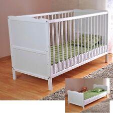 Wooden Baby Cot Bed & Deluxe Aloe Vera Mattress Convert to Toddler Bed