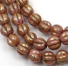 50 Czech Glass Melon Round Beads 5mm - Opaque Rose / Gold Topaz