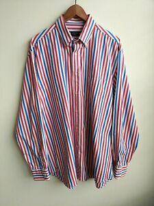 Paul Shark Yatching Striped shirt button down red blue cotton size XL