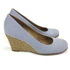 Aerosoles Slip On Heeled Wedge Shoes Weave Detail Blue White Stripe Womens 7 M