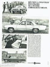 PUBLICITE ADVERTISING 096  1967  Simca  Chrysler-Sunbeam  le Baron Valiant