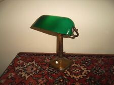 More details for antique original brass bankers desk lamp light green glass shade