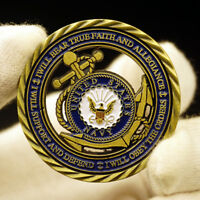 US Army Navy Honor Courage Commitment Anchors Commemorative CHALLENGE Coin badge