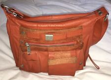 MANDARINA DUCK Orange Leather Crossbody Purse Bag Messenger-NICE