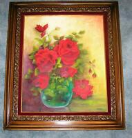VINTAGE RED ROSES GLASS VASE ART NOUVEAU STILL LIFE GARDEN FLOWERS OIL PAINTING