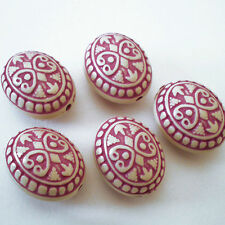 24x19mm Large Ornate Purple and Cream White etched oval ACRYLIC beads NEW -5pcs